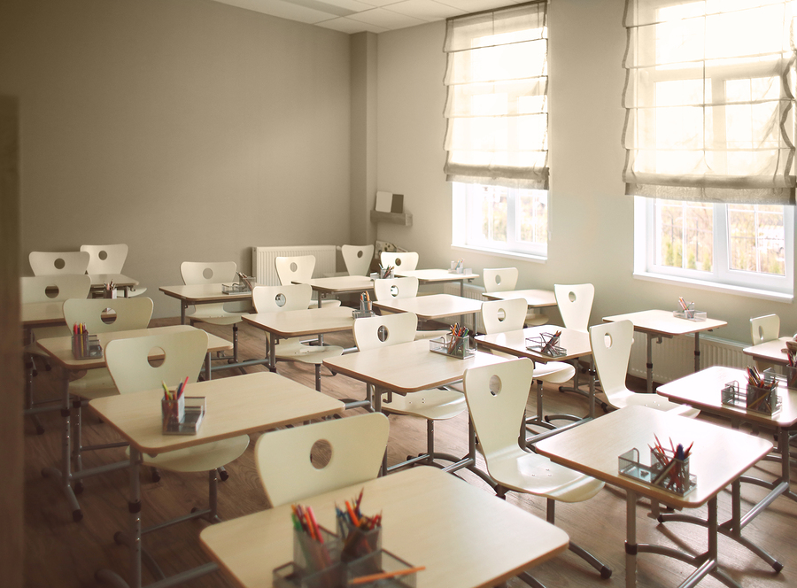 Picture of desks in a classroom.