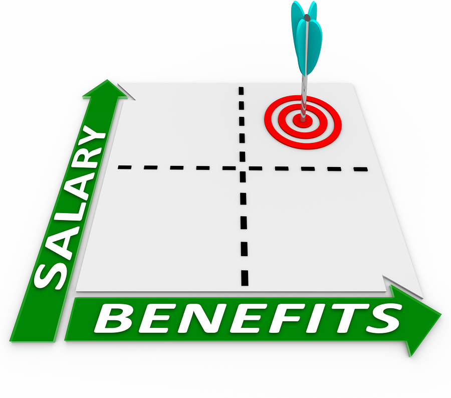 Graph with salary and benefits on the axis.